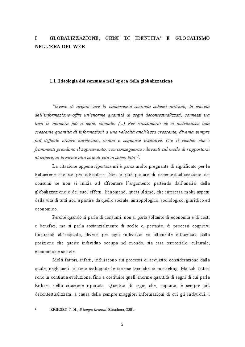 Anteprima della tesi: Internet e la decontestualizzazione dei consumi, Pagina 5