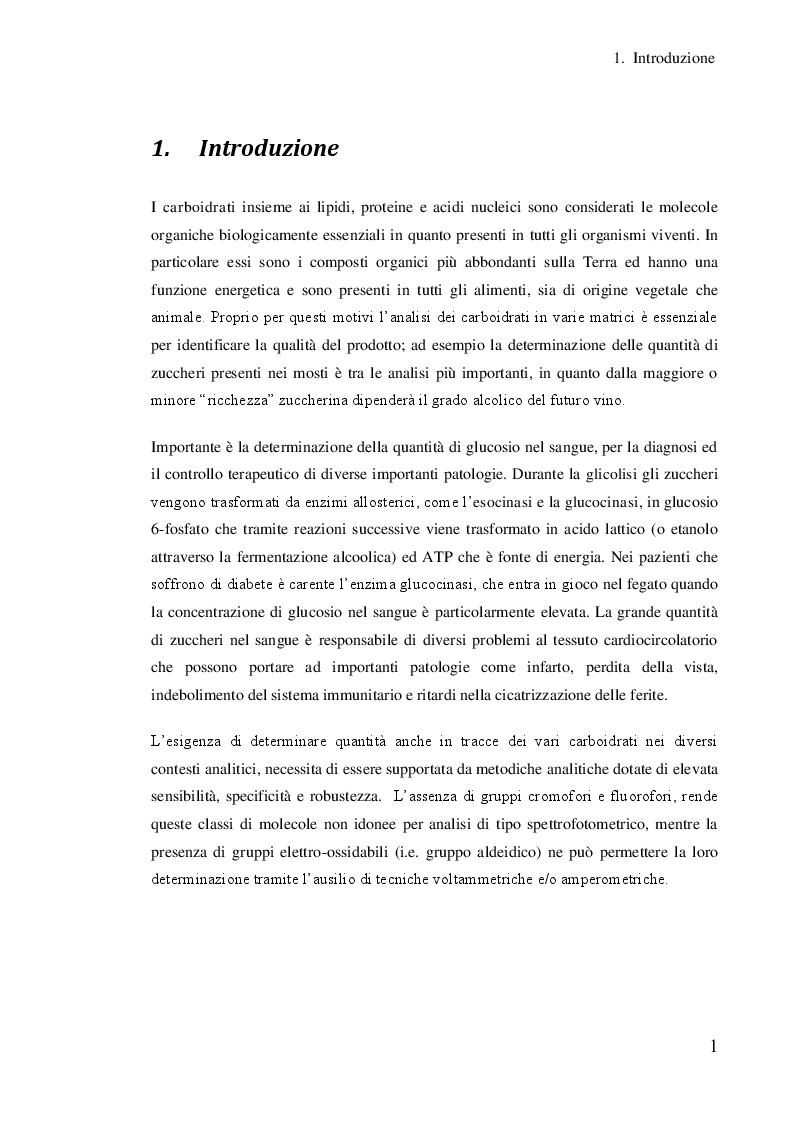 Anteprima della tesi: Studio dell'effetto di alcuni co-catalizzatori metallici sull'elettrocatalisi dell'oro per l'analisi dei carboidrati, Pagina 2