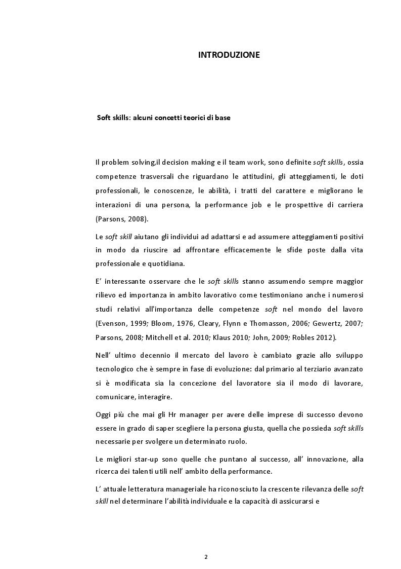 Anteprima della tesi: L'importanza delle soft skills nelle organizzazioni e nel lavoro, Pagina 2