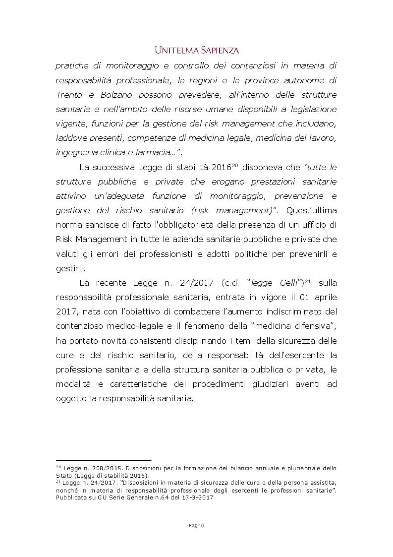 Estratto dalla tesi: Implementazione di un sistema integrato di gestione del rischio clinico nelle aziende sanitarie