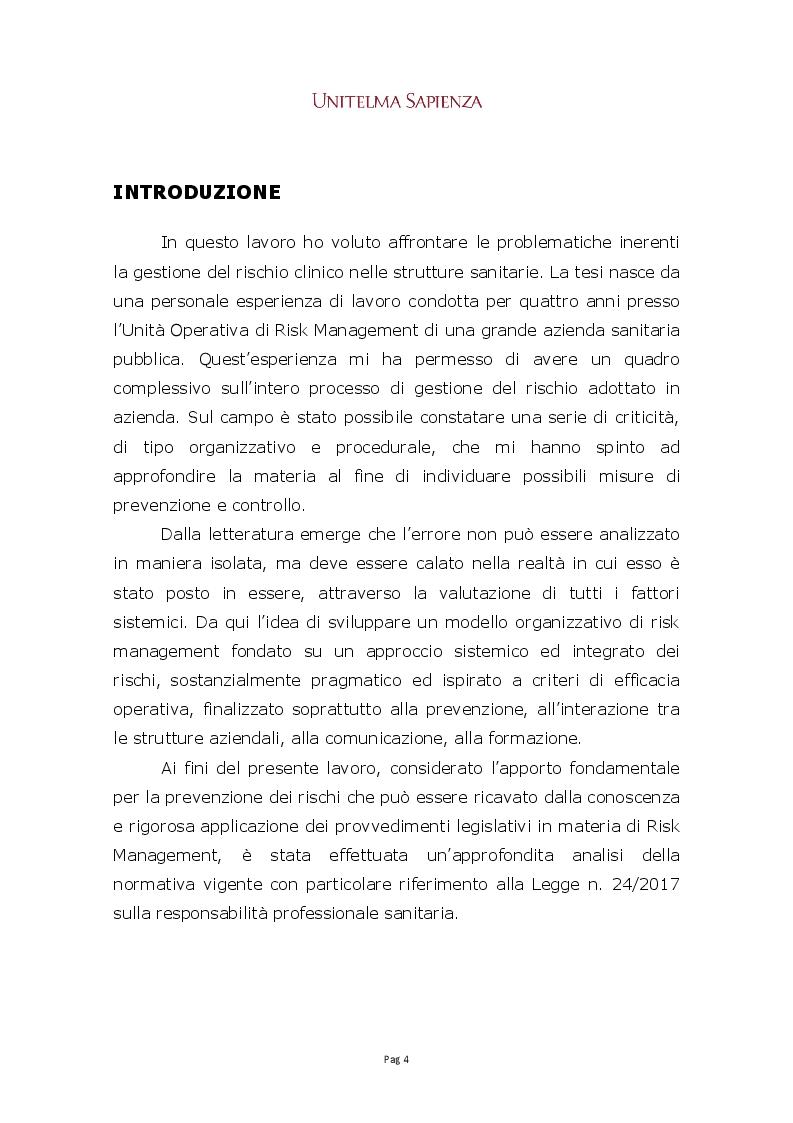 Anteprima della tesi: Implementazione di un sistema integrato di gestione del rischio clinico nelle aziende sanitarie, Pagina 2