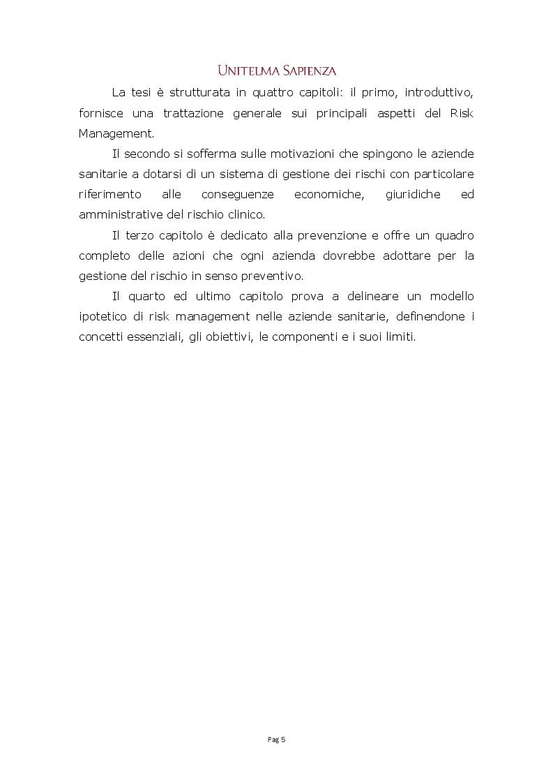 Anteprima della tesi: Implementazione di un sistema integrato di gestione del rischio clinico nelle aziende sanitarie, Pagina 3