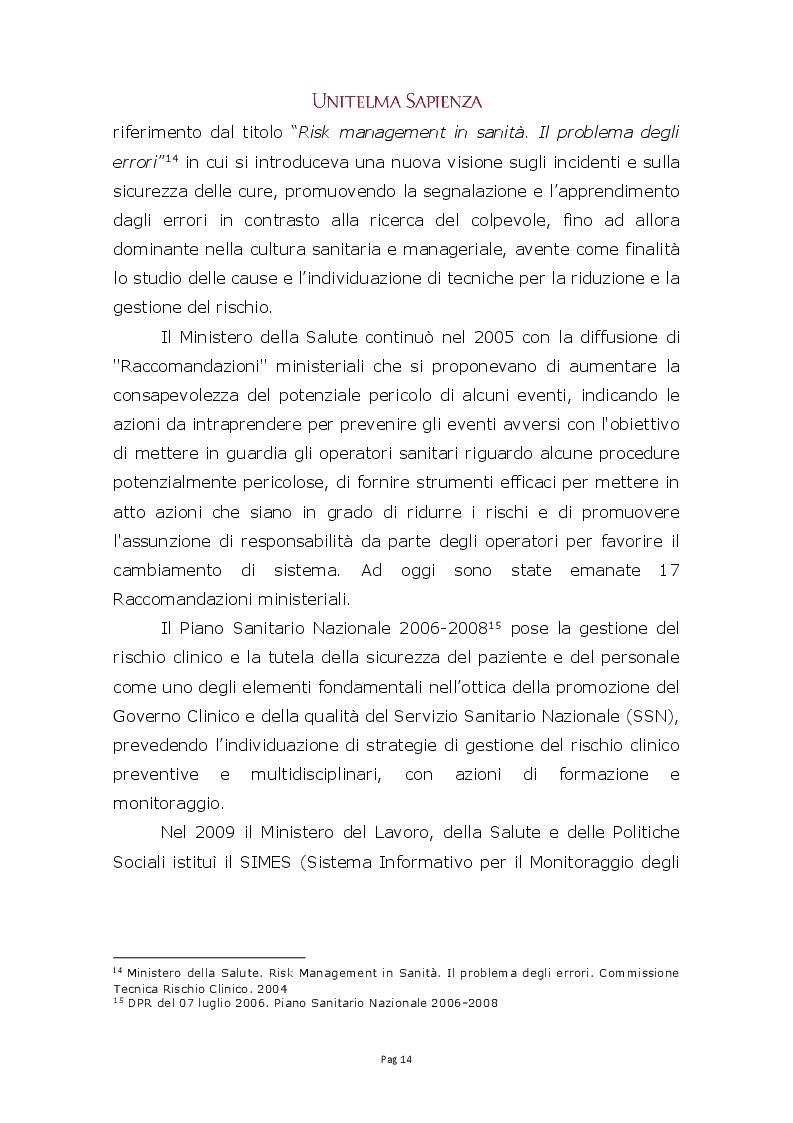 Anteprima della tesi: Implementazione di un sistema integrato di gestione del rischio clinico nelle aziende sanitarie, Pagina 8