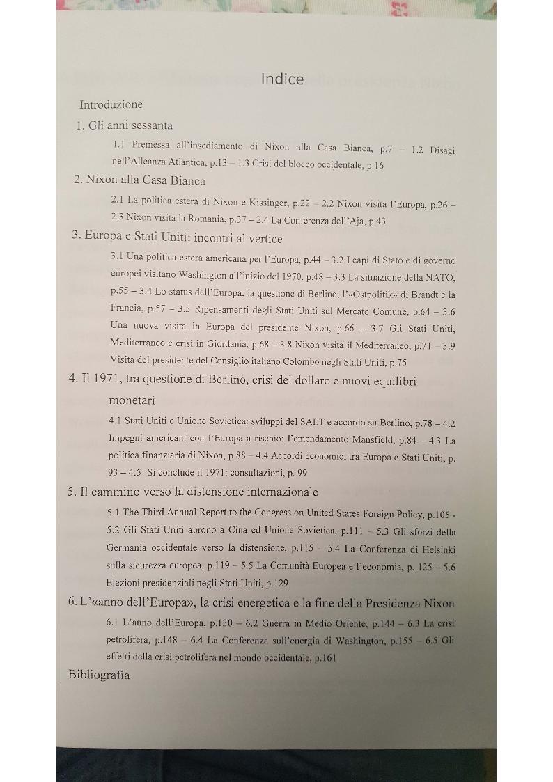 Indice della tesi: Gli Stati Uniti e l'Europa negli anni della presidenza Nixon, Pagina 1