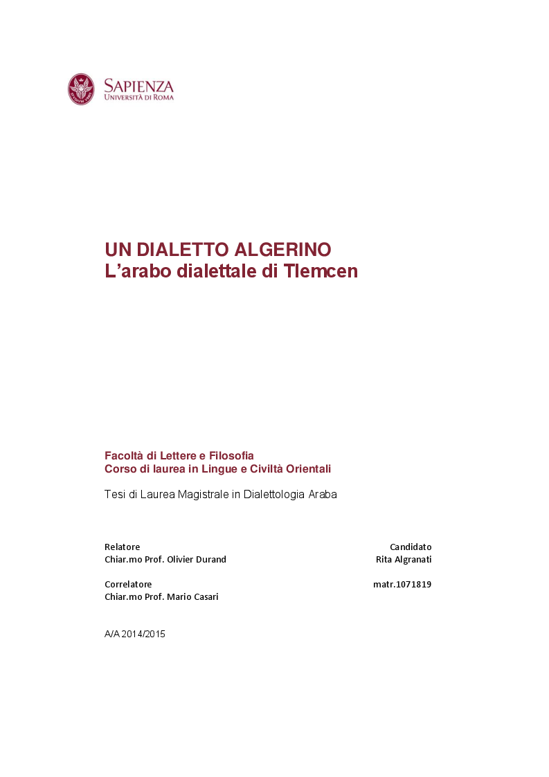 Anteprima della tesi: Un dialetto algerino. L'arabo dialettale di Tlemcen, Pagina 1
