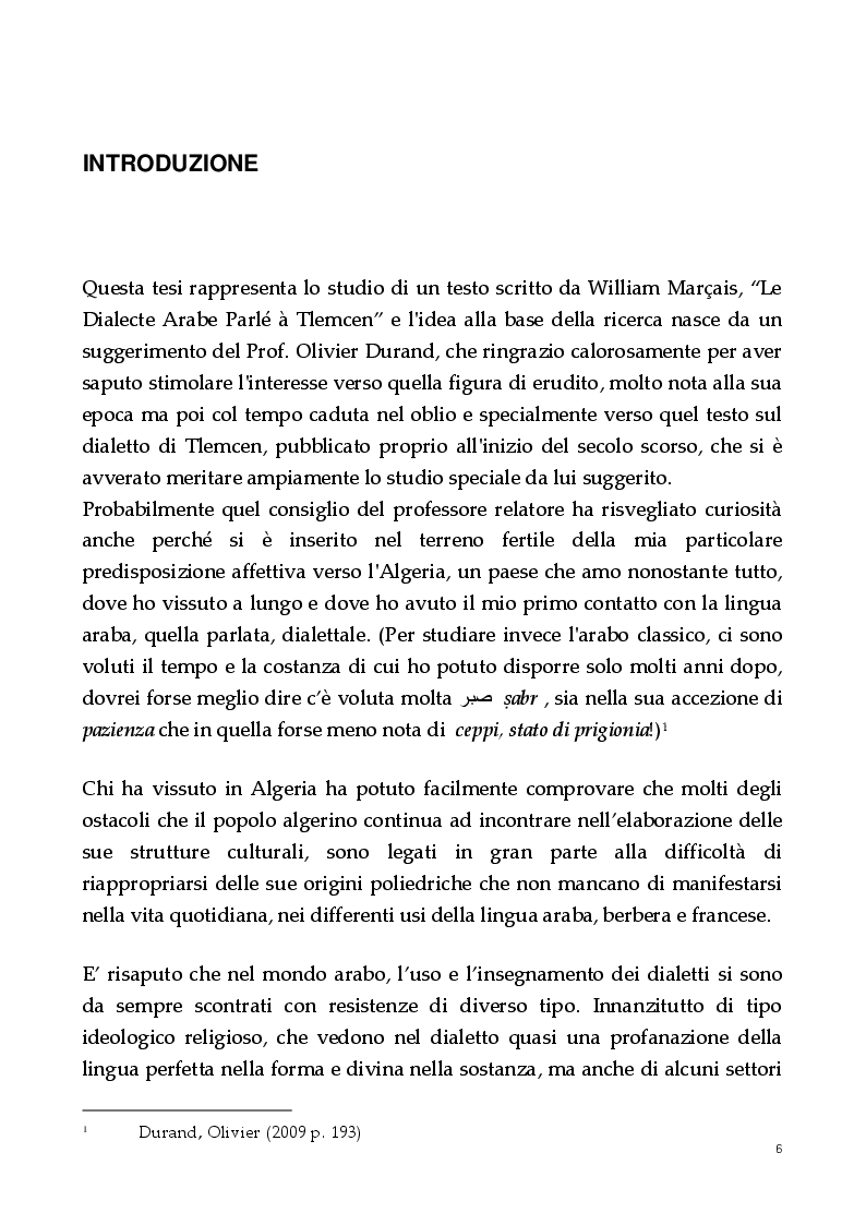 Anteprima della tesi: Un dialetto algerino. L'arabo dialettale di Tlemcen, Pagina 2