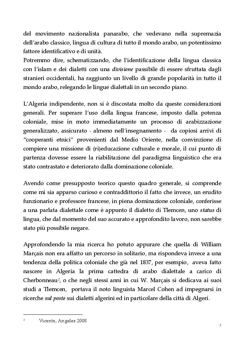 Anteprima della tesi: Un dialetto algerino. L'arabo dialettale di Tlemcen, Pagina 3