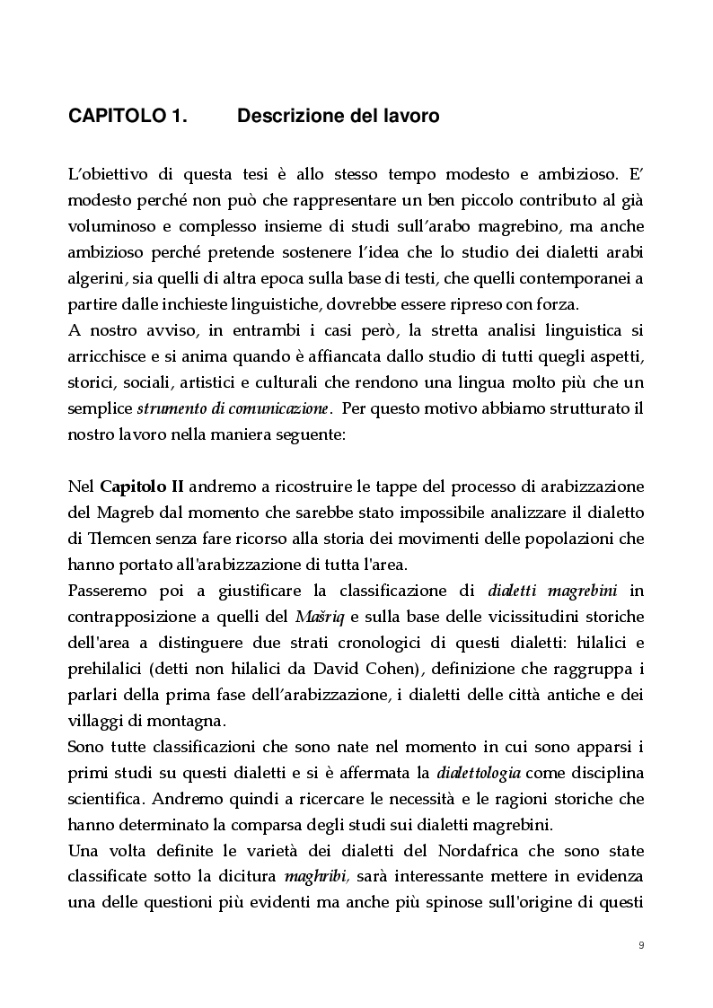 Anteprima della tesi: Un dialetto algerino. L'arabo dialettale di Tlemcen, Pagina 5