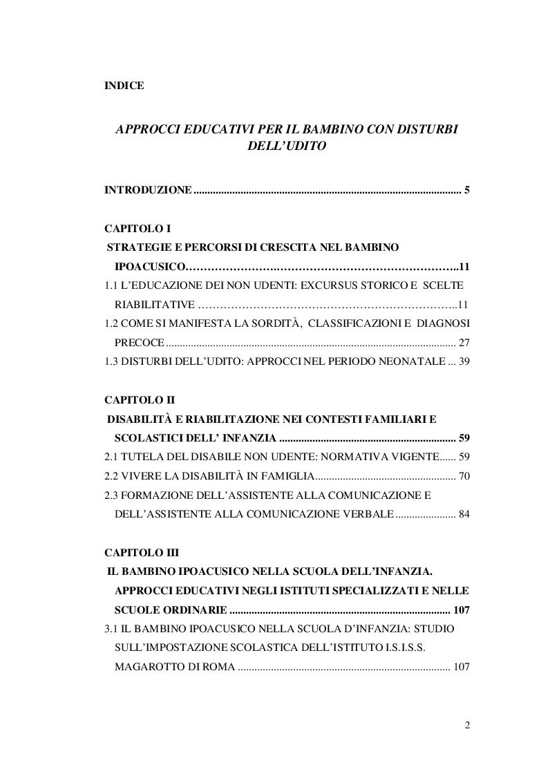 Indice della tesi: Approcci educativi per il bambini con disturbi dell'udito, Pagina 1