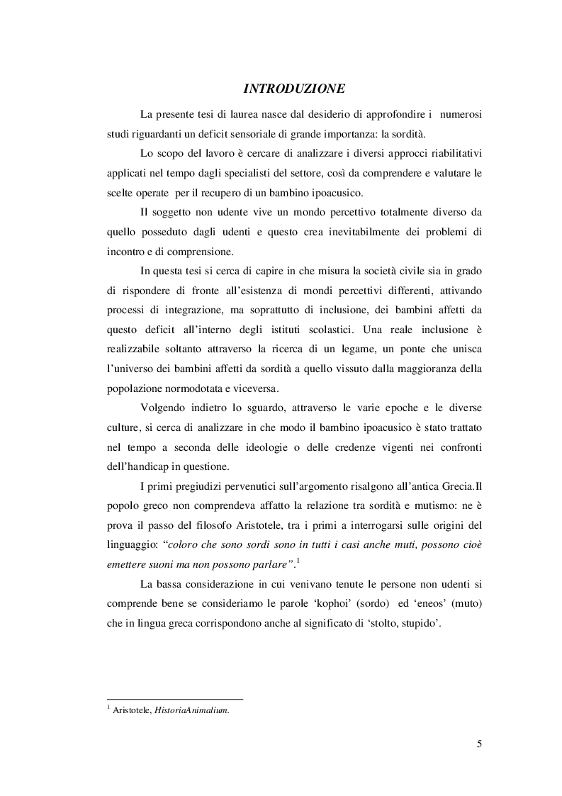 Anteprima della tesi: Approcci educativi per il bambini con disturbi dell'udito, Pagina 2