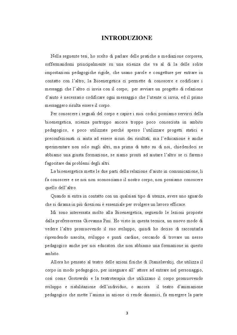 Anteprima della tesi: La bioenergetica e il teatro. L'importanza del corpo nella relazione d'aiuto, Pagina 2