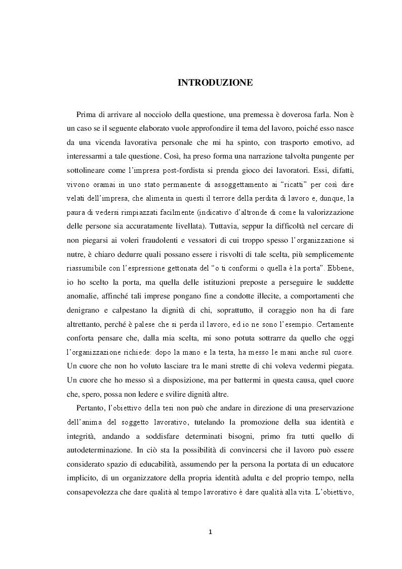 Anteprima della tesi: Il volto del lavoro nella società contemporanea: dal lavoro che nobilita l'uomo al lavoro che mobilita l'uomo, Pagina 2