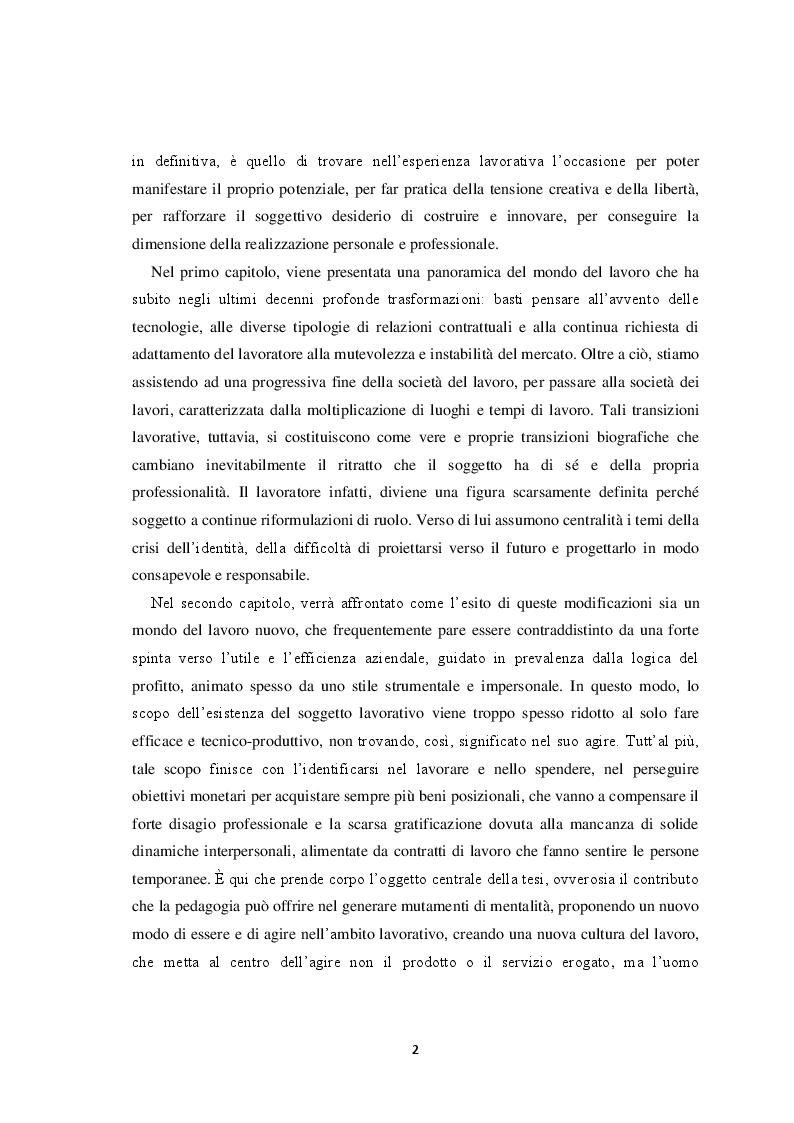 Anteprima della tesi: Il volto del lavoro nella società contemporanea: dal lavoro che nobilita l'uomo al lavoro che mobilita l'uomo, Pagina 3