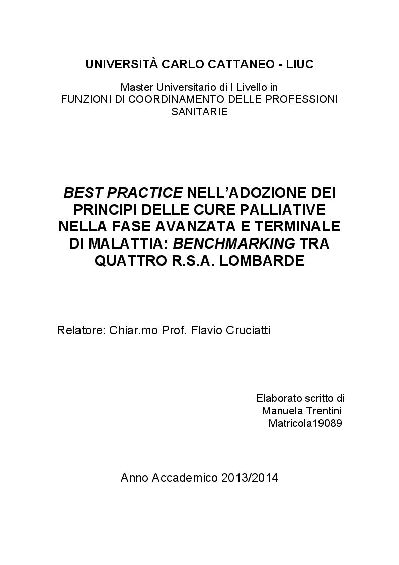 Anteprima della tesi: Best Practice nell'adozione dei principi delle Cure Palliative nella fase avanzata e terminale di malattia: Benchmarking tra quattro R.S.A. lombarde, Pagina 1