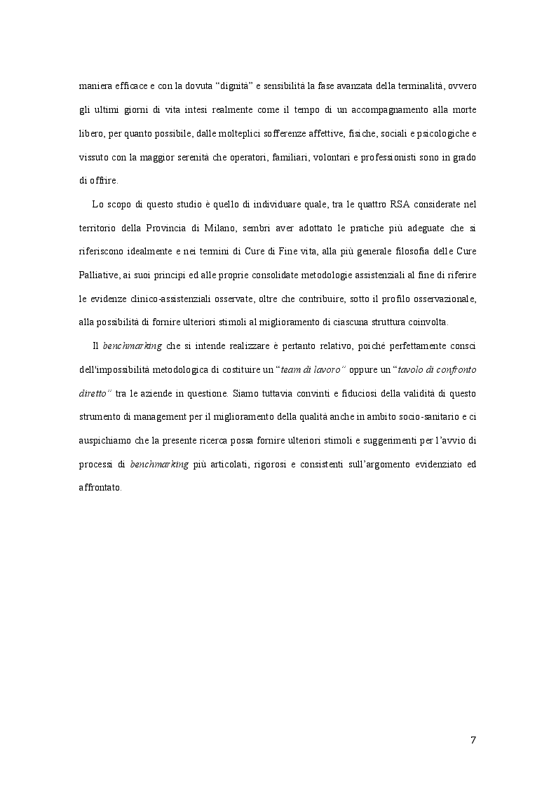 Anteprima della tesi: Best Practice nell'adozione dei principi delle Cure Palliative nella fase avanzata e terminale di malattia: Benchmarking tra quattro R.S.A. lombarde, Pagina 4