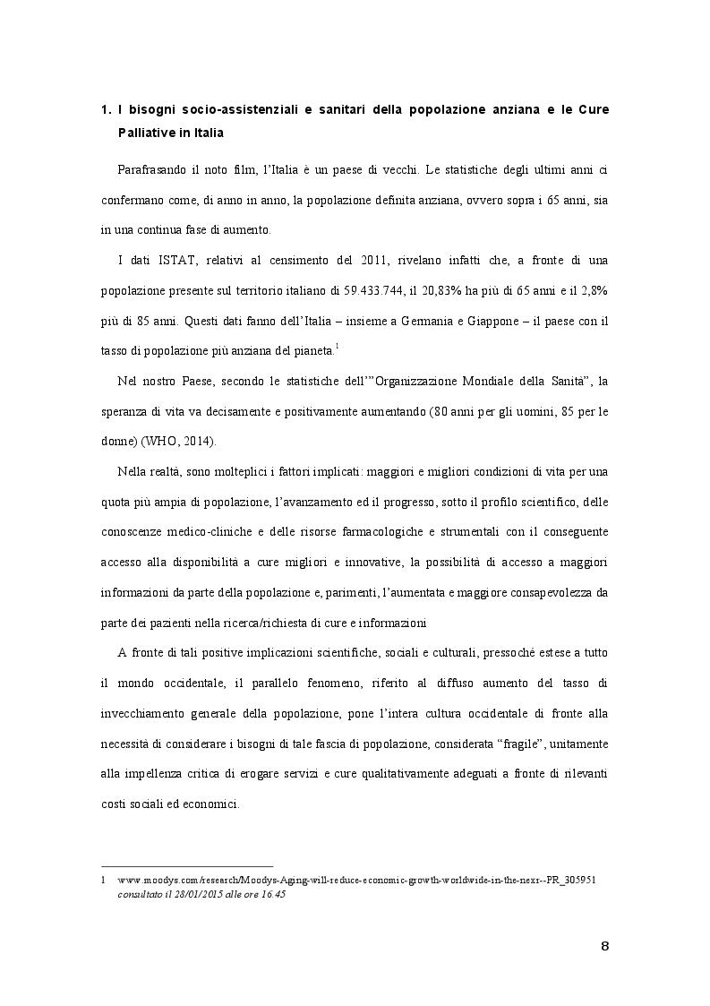 Anteprima della tesi: Best Practice nell'adozione dei principi delle Cure Palliative nella fase avanzata e terminale di malattia: Benchmarking tra quattro R.S.A. lombarde, Pagina 5