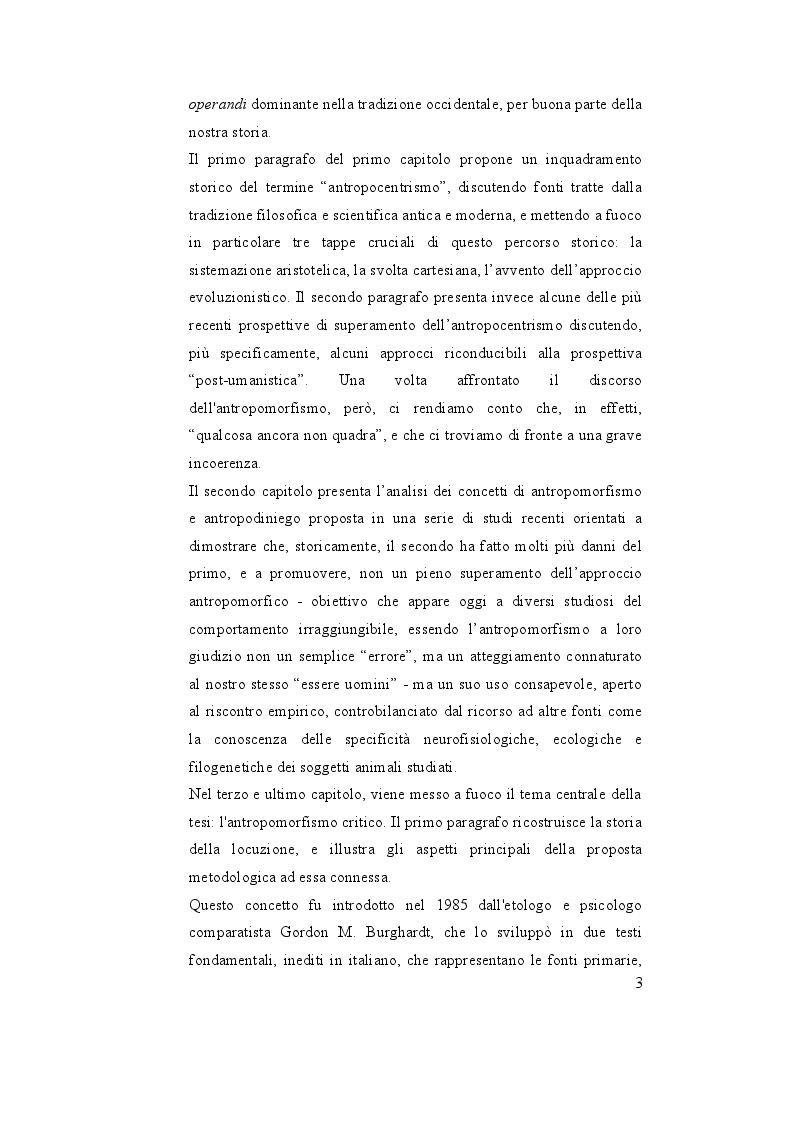 Anteprima della tesi: Oltre l'antropocentrismo, oltre l'antropodiniego: verso un ''antropomorfismo critico'', Pagina 4