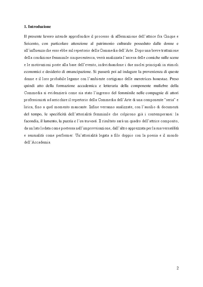 Anteprima della tesi: Il volto femminile della Commedia dell'Arte: l'affermazione dell'attrice tra '500 e '600, Pagina 2