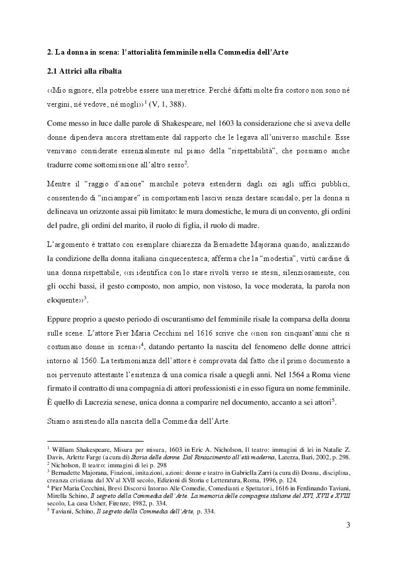 Anteprima della tesi: Il volto femminile della Commedia dell'Arte: l'affermazione dell'attrice tra '500 e '600, Pagina 3