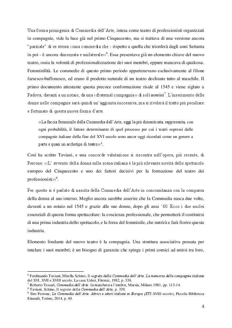 Anteprima della tesi: Il volto femminile della Commedia dell'Arte: l'affermazione dell'attrice tra '500 e '600, Pagina 4