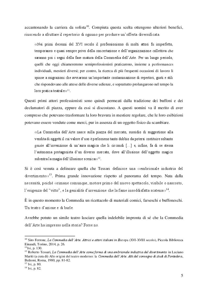Anteprima della tesi: Il volto femminile della Commedia dell'Arte: l'affermazione dell'attrice tra '500 e '600, Pagina 5