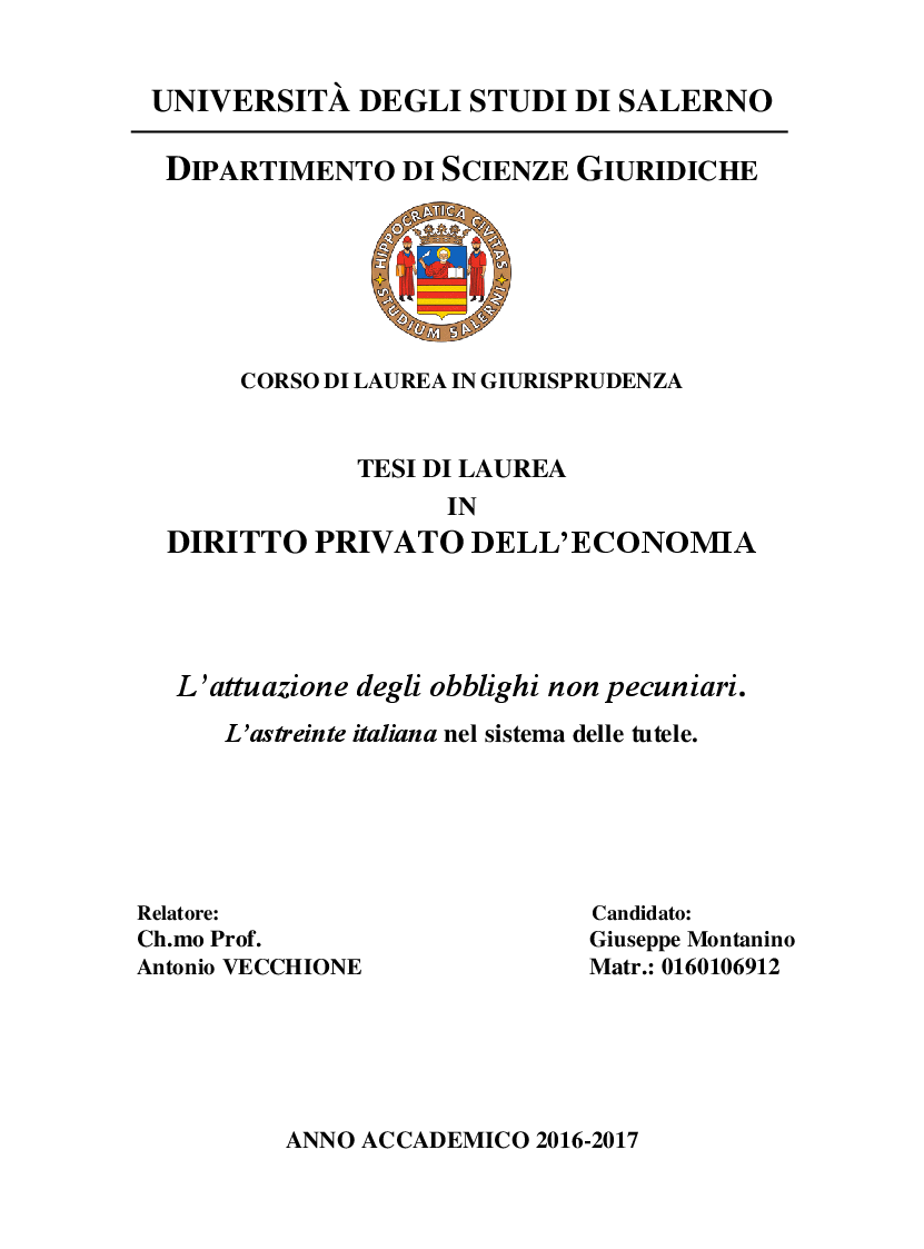 Anteprima della tesi: L'attuazione degli obblighi non pecuniari. L'astreinte italiana nel sistema delle tutele, Pagina 1