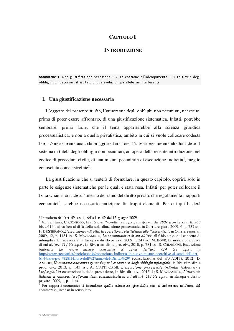 Anteprima della tesi: L'attuazione degli obblighi non pecuniari. L'astreinte italiana nel sistema delle tutele, Pagina 3