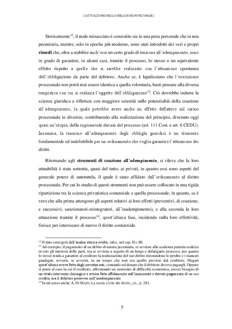 Anteprima della tesi: L'attuazione degli obblighi non pecuniari. L'astreinte italiana nel sistema delle tutele, Pagina 6