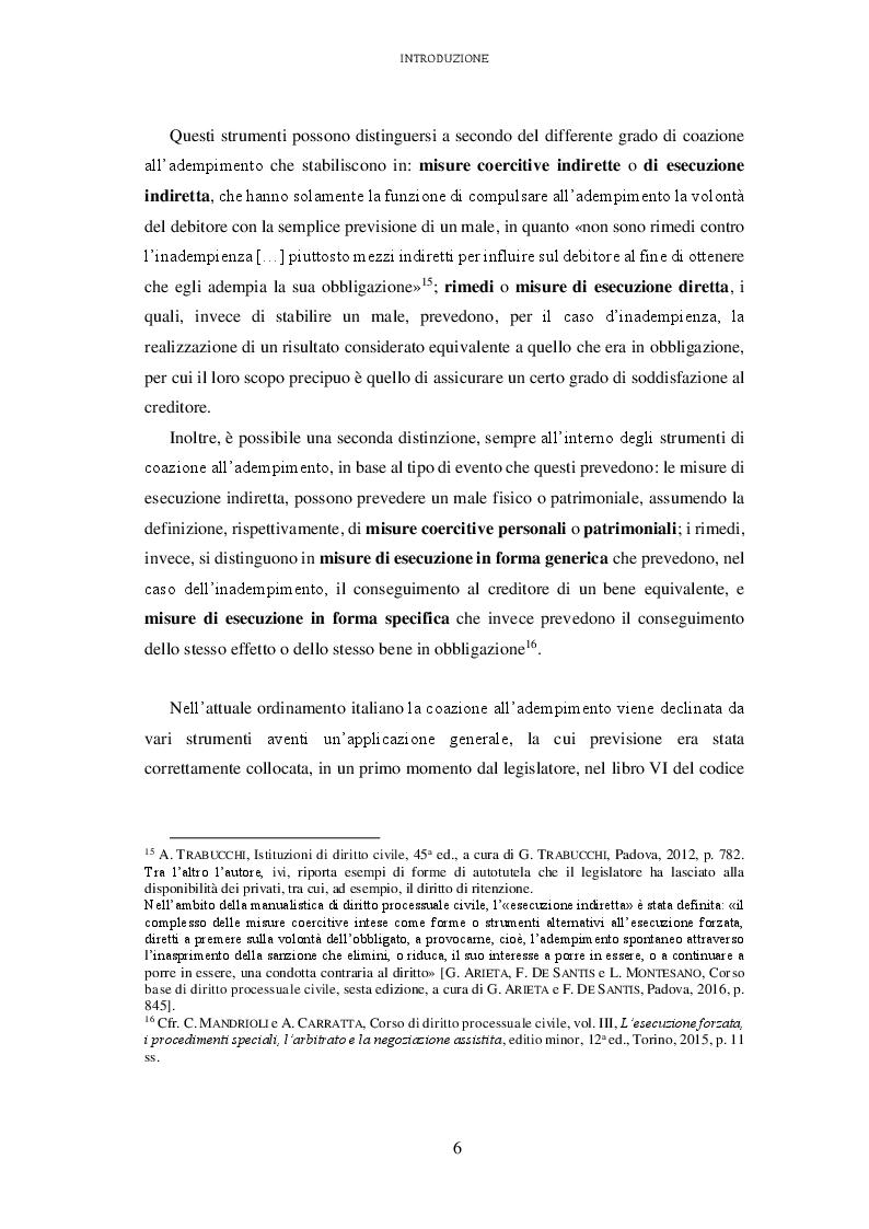 Anteprima della tesi: L'attuazione degli obblighi non pecuniari. L'astreinte italiana nel sistema delle tutele, Pagina 7