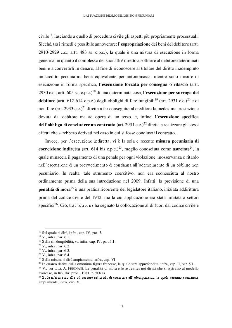 Anteprima della tesi: L'attuazione degli obblighi non pecuniari. L'astreinte italiana nel sistema delle tutele, Pagina 8