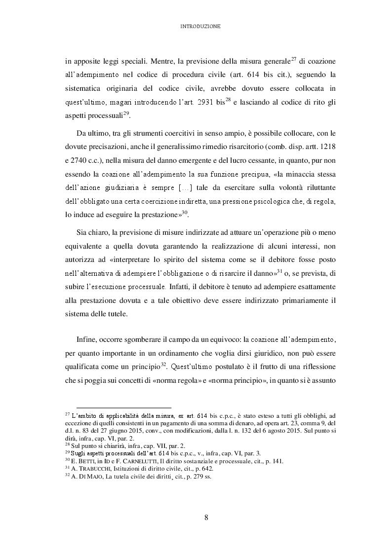 Anteprima della tesi: L'attuazione degli obblighi non pecuniari. L'astreinte italiana nel sistema delle tutele, Pagina 9