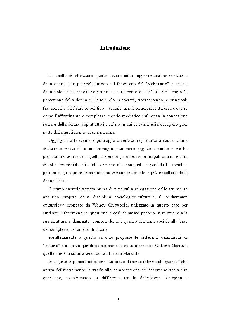 Anteprima della tesi: La rappresentazione della donna nei mass media. Il fenomeno del Velinismo, Pagina 2