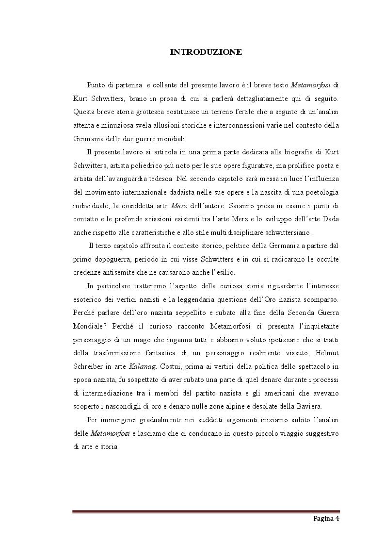 Anteprima della tesi: Occultismo, potere, tesori nascosti e magia d'epoca nazista nel racconto Verwandlungen di Kurt Schwitters, Pagina 2