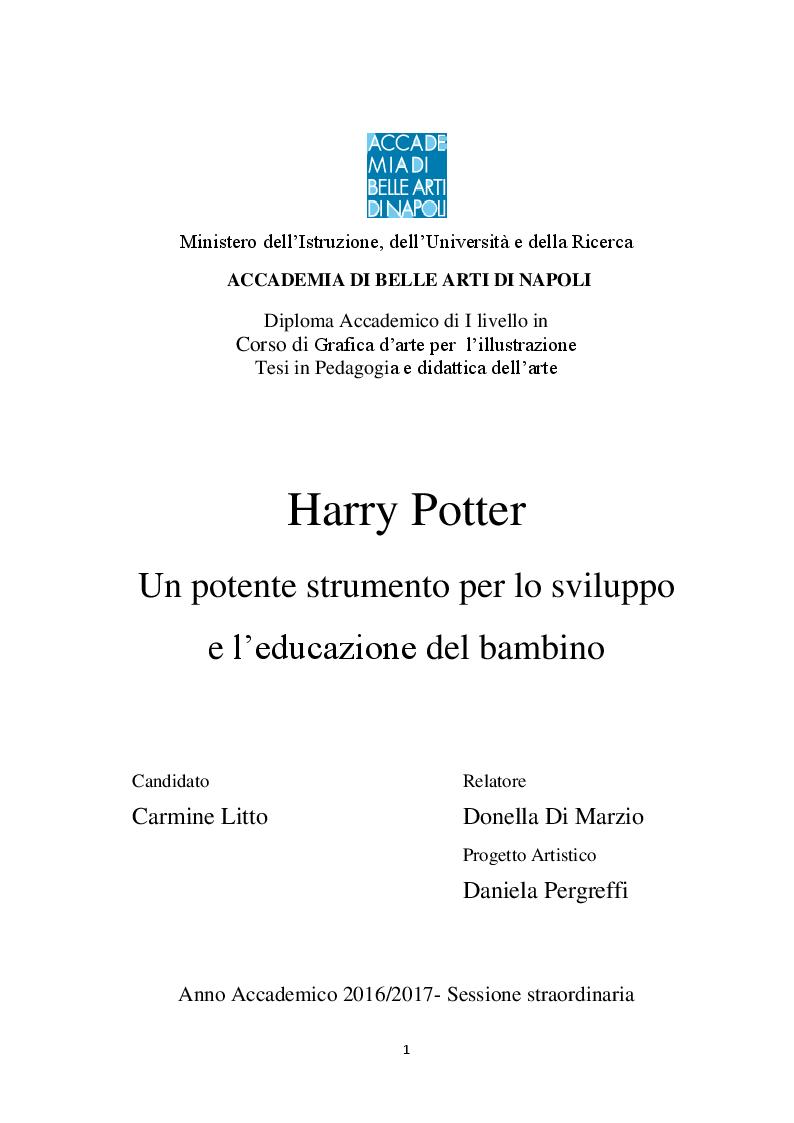 Anteprima della tesi: Harry Potter -  un potente strumento per lo sviluppo e l'educazione del bambino, Pagina 1