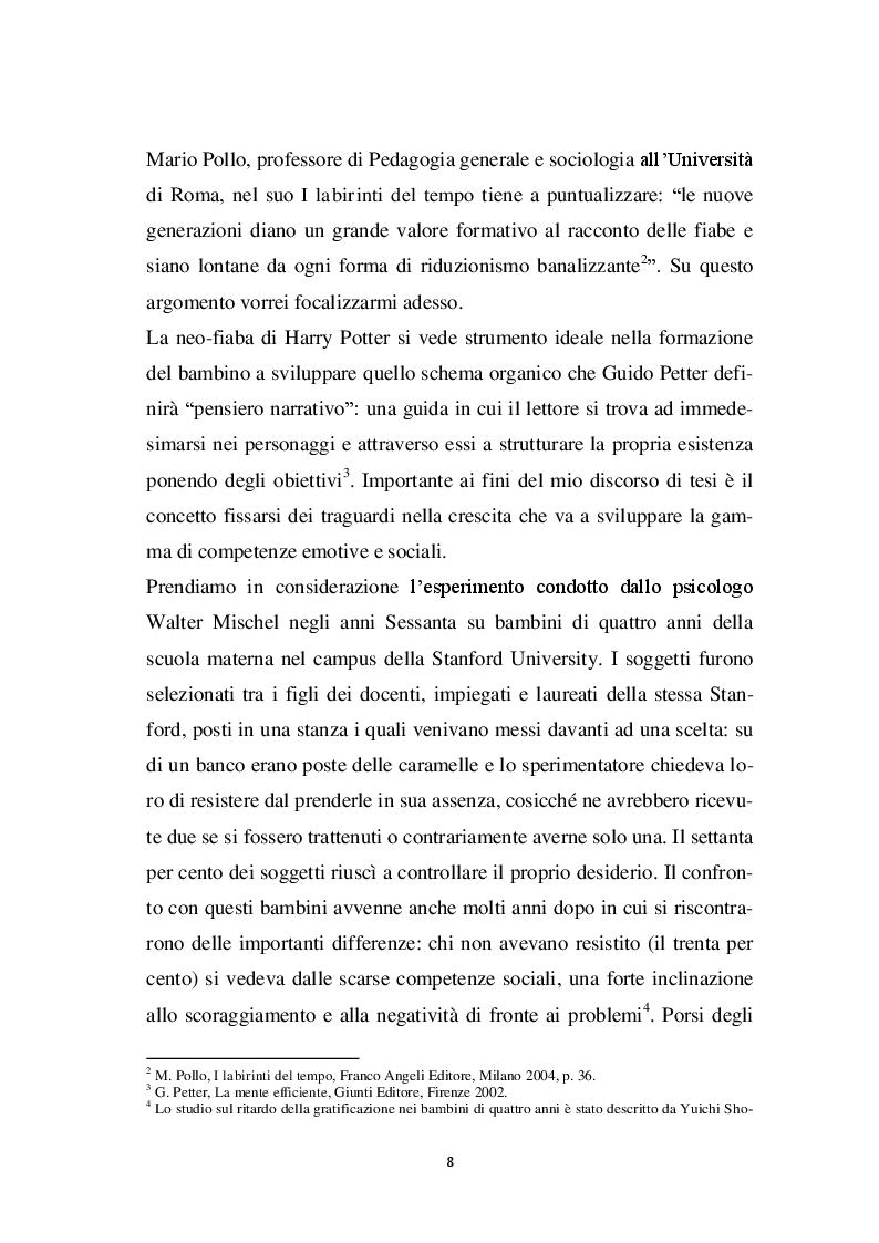 Anteprima della tesi: Harry Potter -  un potente strumento per lo sviluppo e l'educazione del bambino, Pagina 5