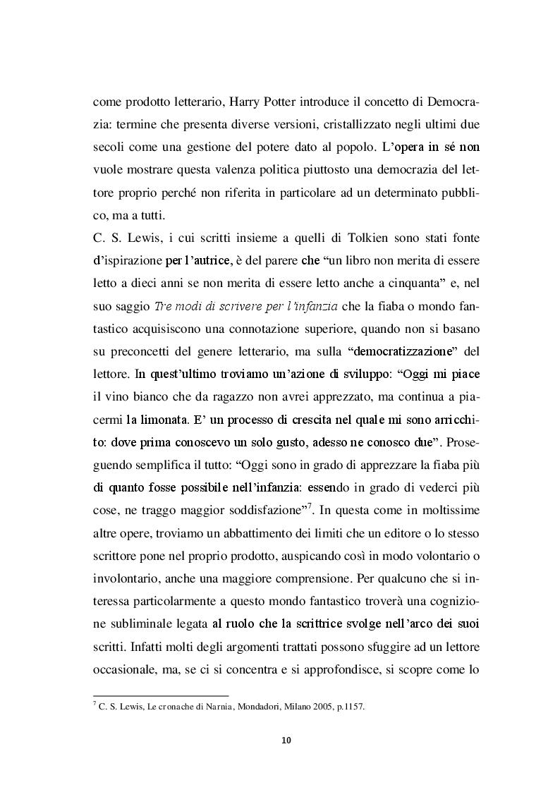 Anteprima della tesi: Harry Potter -  un potente strumento per lo sviluppo e l'educazione del bambino, Pagina 7