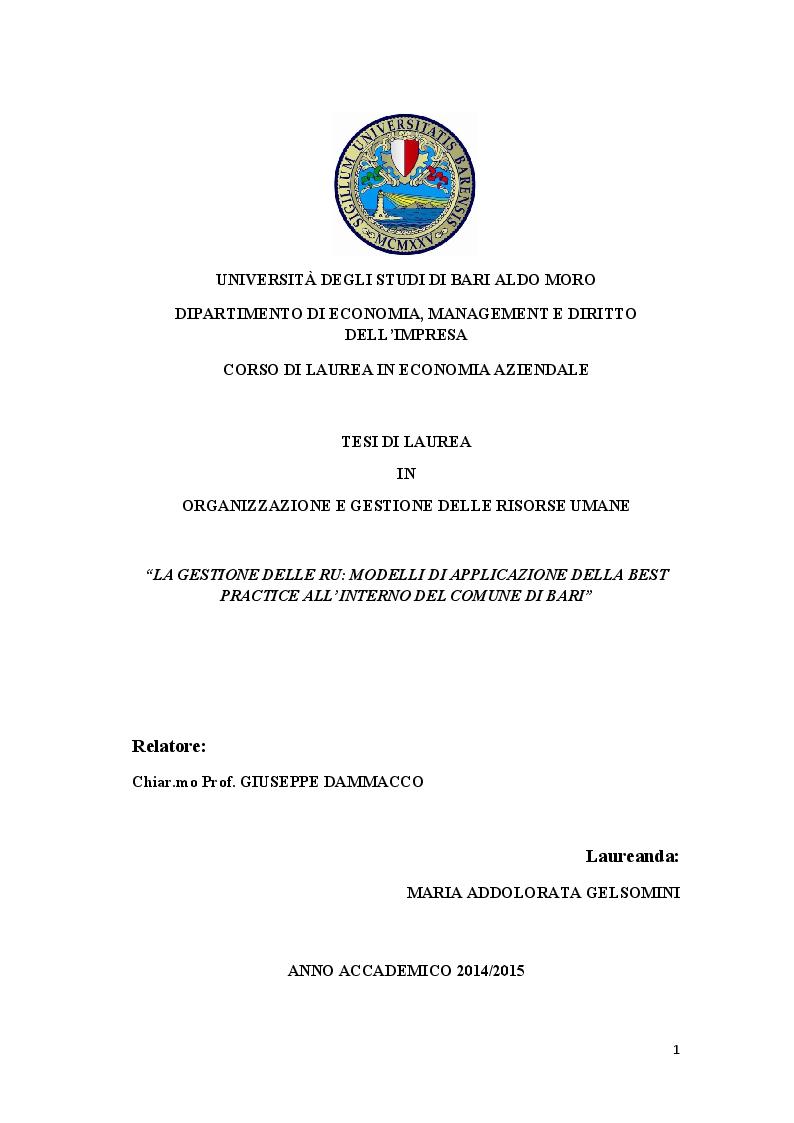Anteprima della tesi: La gestione delle RU: Modelli di applicazione della best practice all'interno del Comune di Bari, Pagina 1