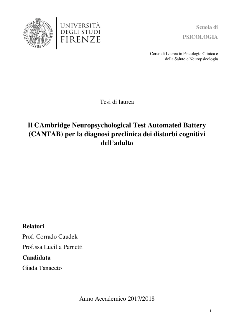Anteprima della tesi: Il CAmbridge Neuropsychological Test Automated Battery (CANTAB) per la diagnosi preclinica dei disturbi cognitivi dell'adulto, Pagina 1