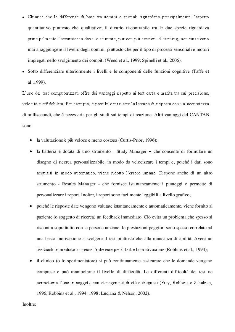 Anteprima della tesi: Il CAmbridge Neuropsychological Test Automated Battery (CANTAB) per la diagnosi preclinica dei disturbi cognitivi dell'adulto, Pagina 8