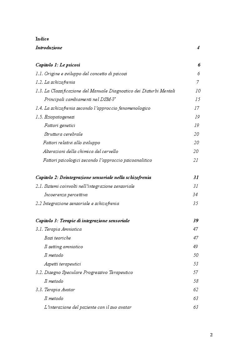 Indice della tesi: Percorsi di integrazione sensoriale nel trattamento delle psicosi, Pagina 1