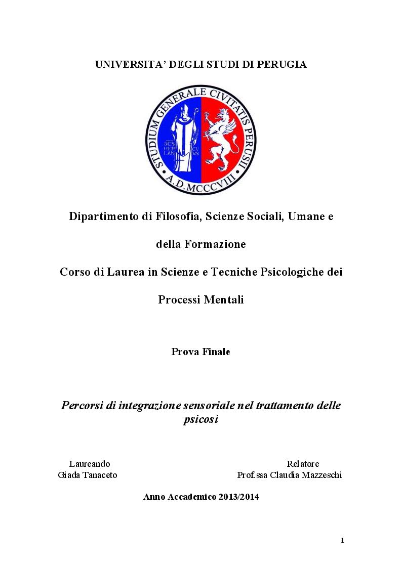 Anteprima della tesi: Percorsi di integrazione sensoriale nel trattamento delle psicosi, Pagina 1