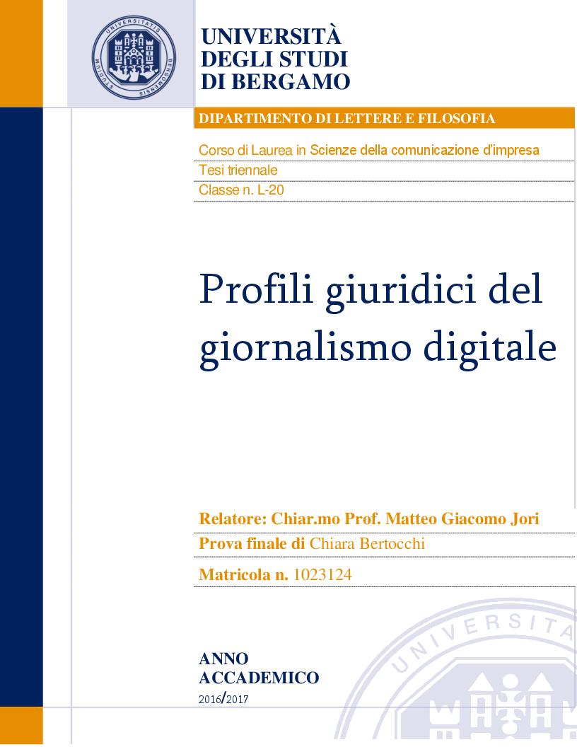 Anteprima della tesi: Profili giuridici del giornalismo digitale, Pagina 1