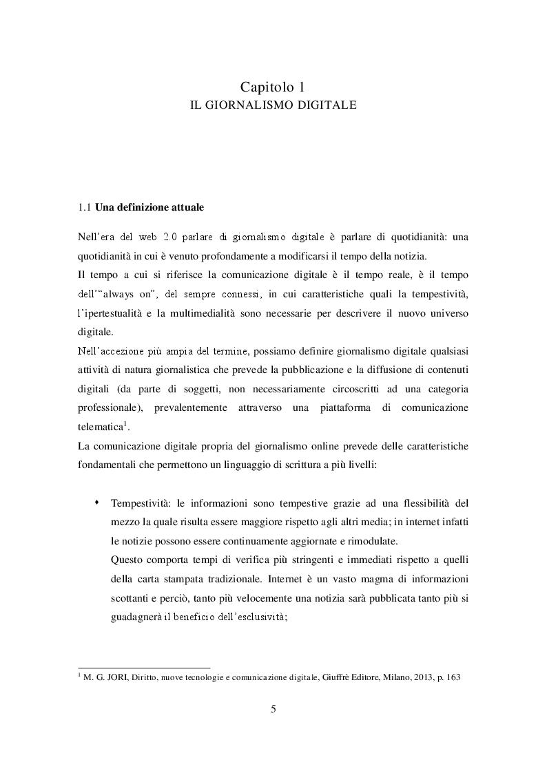 Anteprima della tesi: Profili giuridici del giornalismo digitale, Pagina 4