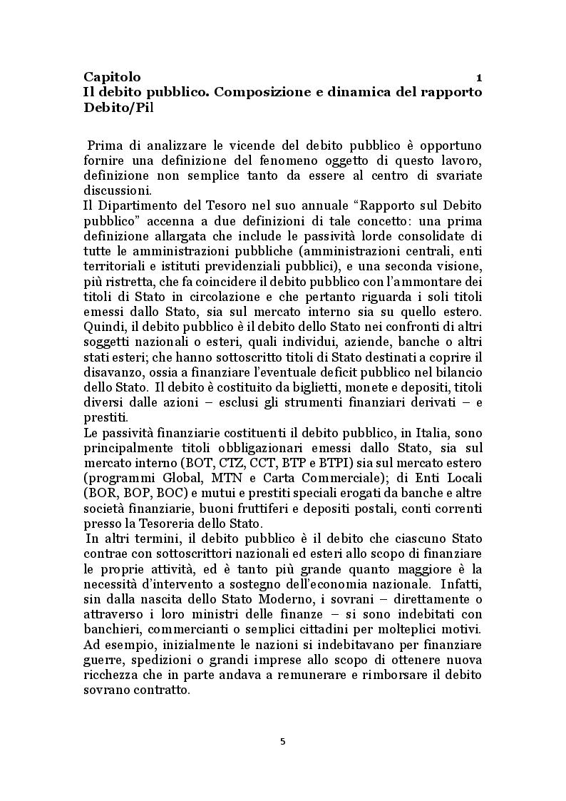 Anteprima della tesi: Il debito pubblico e i programmi di aggiustamento economico: il caso italiano dal secondo dopoguerra a oggi, Pagina 4