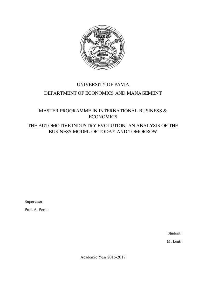 Anteprima della tesi: The Automotive Industry Evolution: an Analysis of the Business Model of Today and Tomorrow, Pagina 1