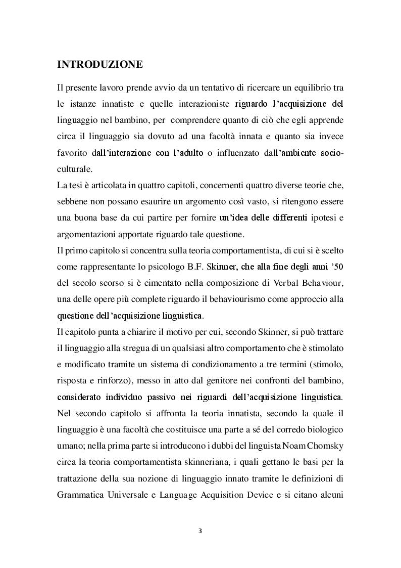 Anteprima della tesi: Approcci all'acquisizione del linguaggio: dal comportamentismo alla teoria interazionista, Pagina 2