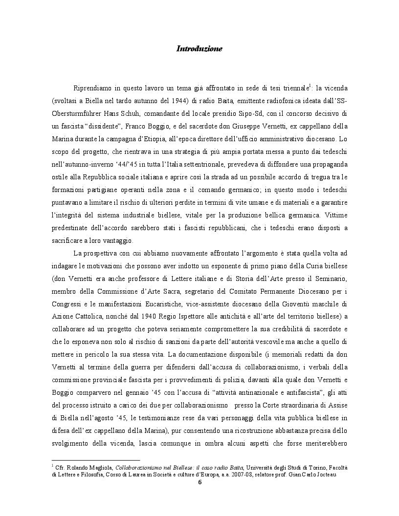 Anteprima della tesi: Occupanti tedeschi, fascisti repubblicani e movimento partigiano: una mediazione cattolica a Biella. Il caso di radio Baita, Pagina 2