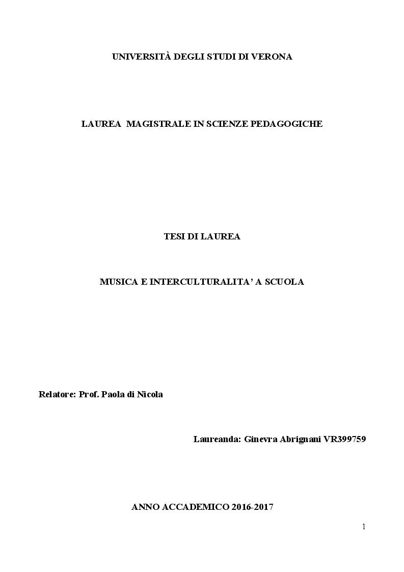Anteprima della tesi: Musica e Interculturalità a scuola, Pagina 1