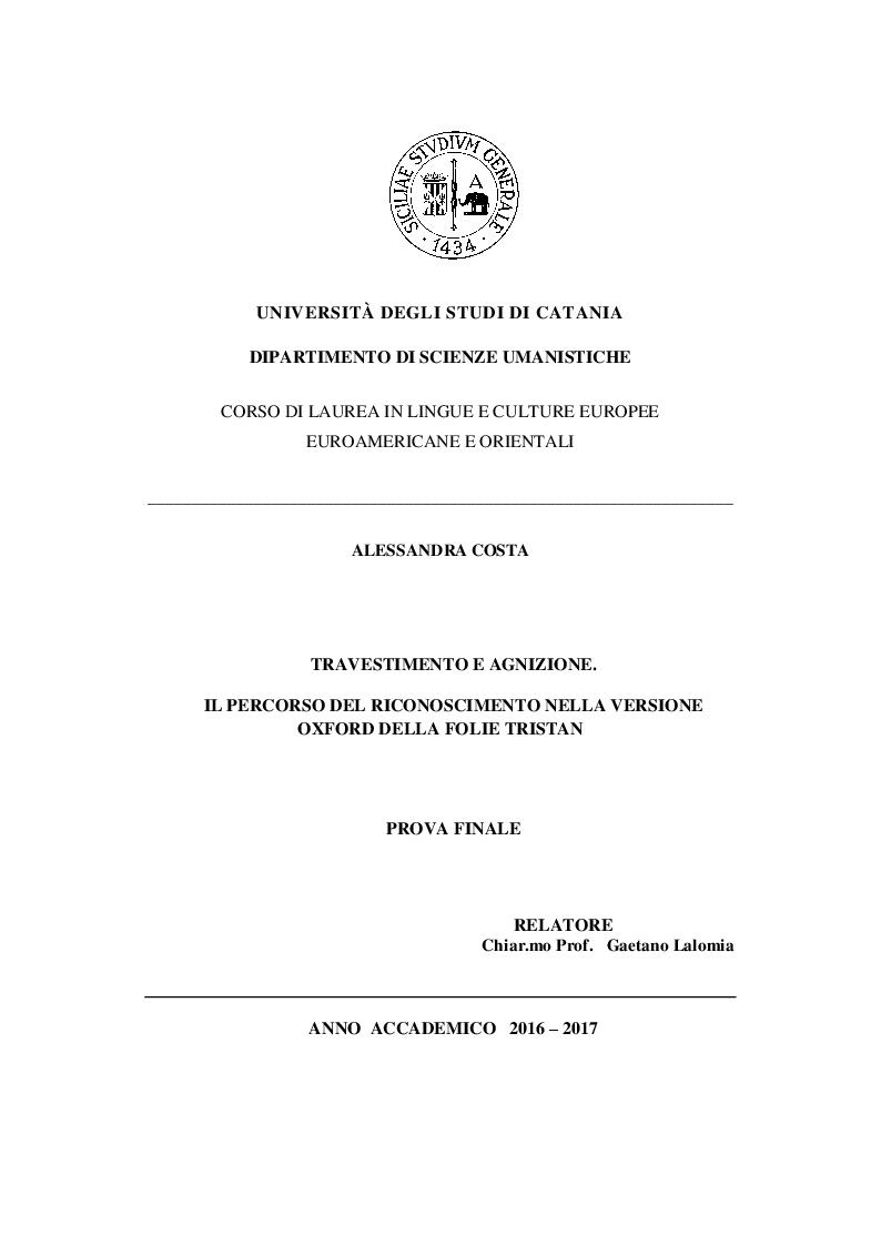Anteprima della tesi: Travestimento e agnizione. Il percorso del riconoscimento nella versione Oxford della Folie Tristan, Pagina 1