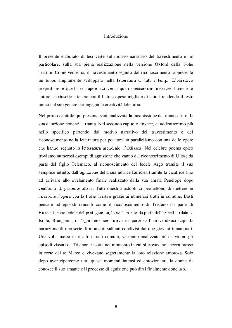 Anteprima della tesi: Travestimento e agnizione. Il percorso del riconoscimento nella versione Oxford della Folie Tristan, Pagina 2